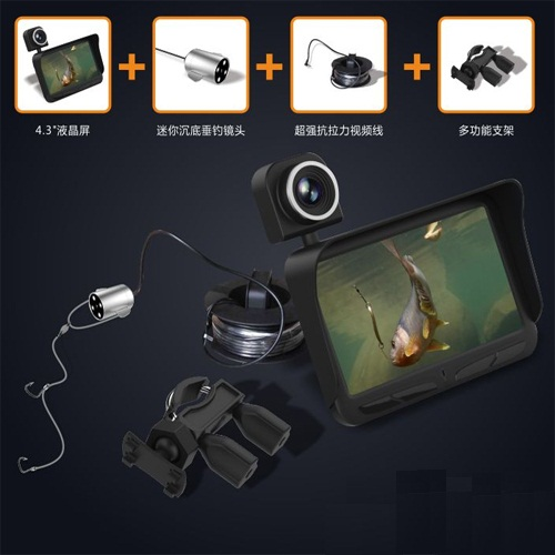 4.3 inch large TFT color screen HD 600TV super Mini portable Dual lens underwater fish video cameras with 20m cable